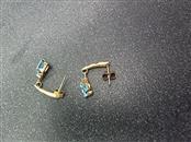 Blue Stone Gold-Diamond & Stone Earrings 2 Diamonds .010 Carat T.W.